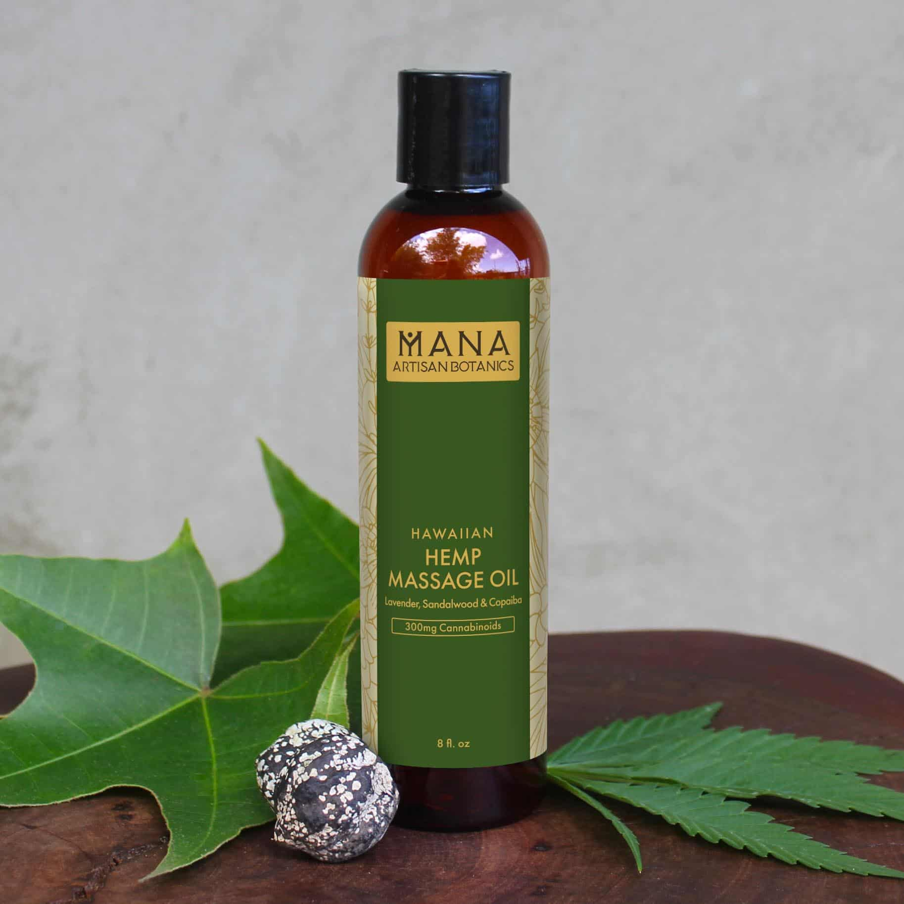 Mana Artisan Botanics Lavender, Sandalwood & Copaiba CBD Massage Oil