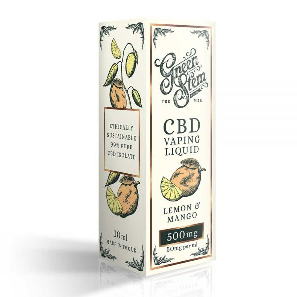 Green Stem CBD Lemon & Mango Vape Liquid 500mg