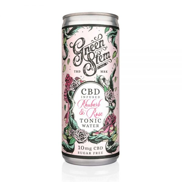 Green Stem CBD Tonic Water - Rhubarb & Rose